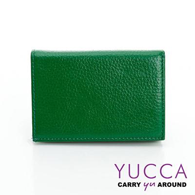 YUCCA - 牛皮俏麗多彩名片夾(迷你皮夾)-綠色- 02200044009