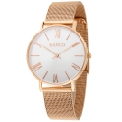 MANGO 羅馬數字米蘭錶帶時尚腕錶-白/玫瑰金-34mm
