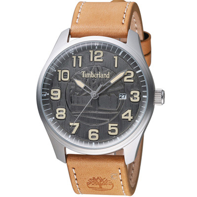 Timberland 荒野征途時尚腕錶-銀灰x淺棕色錶帶/46mm