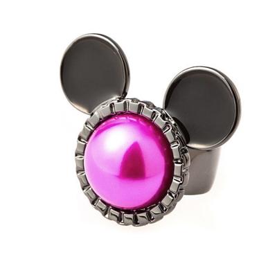 迪士尼 DISNEY COUTURE 米妮系列 桃紅珍珠米妮 黑色戒指