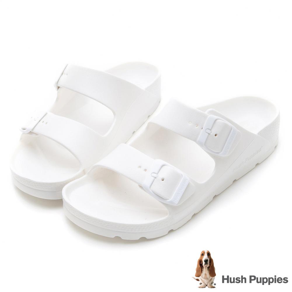Hush Puppies 巴吉度輕量休閒拖涼鞋-米白
