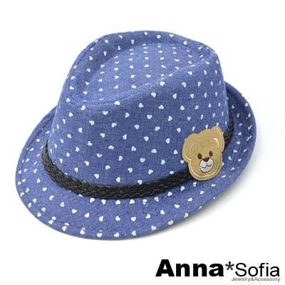 AnnaSofia-兒童用熊熊-愛心點中折帽-牛仔