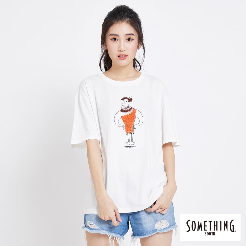 SOMETHING 摩登人趣味短袖T恤-女-白色