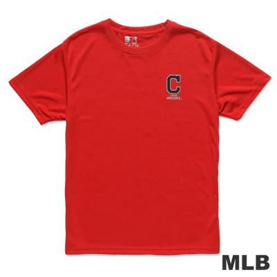 MLB-克里夫蘭印地安人隊印花LOGO快排短袖T恤-紅(男)