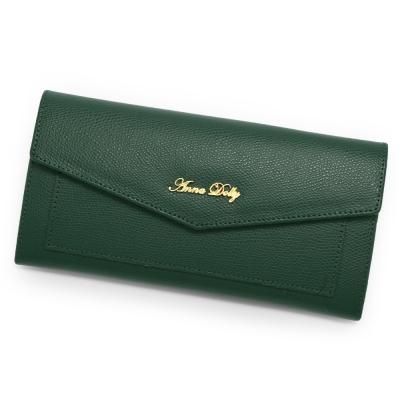 ANNA DOLLY 法式微醺French牛皮信封長夾 古典綠