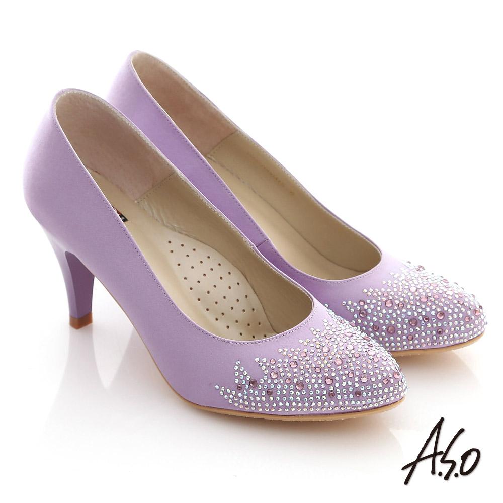 A.S.O 百年好合 絲緞碎鑽質感窩心高跟鞋 紫