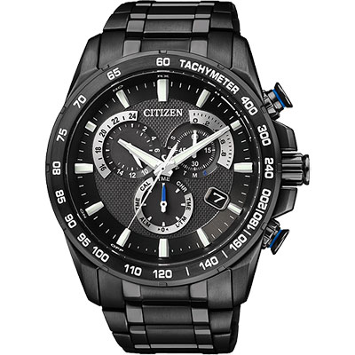 CITIZEN Eco-Drive 鈦單局電波鬧鈴腕錶(AS8025-57E)-IP黑/43mm