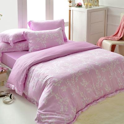 英國Abelia 淡雅花語-紫 特大木漿纖維八件式兩用被床罩組