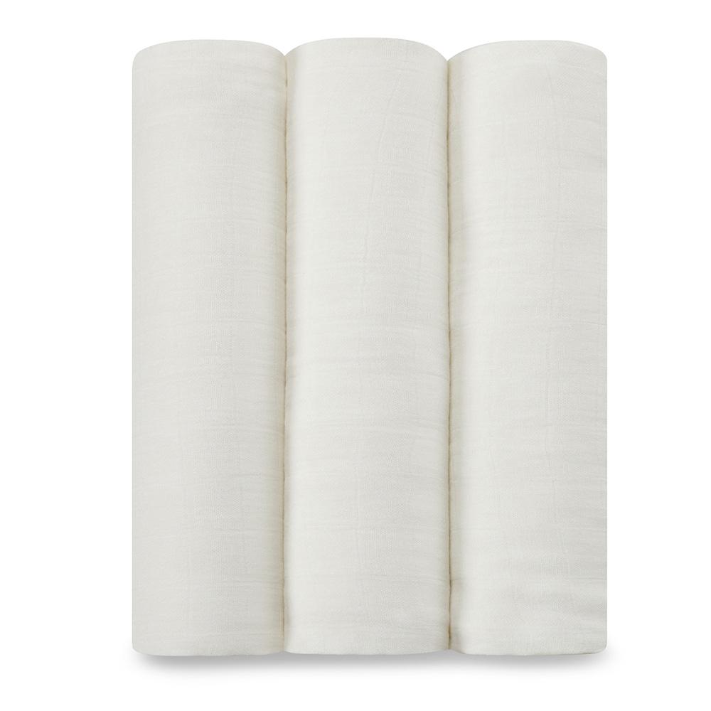 美國 aden+anais新生兒絲柔(竹纖維)包巾3入-純白系列AA9200