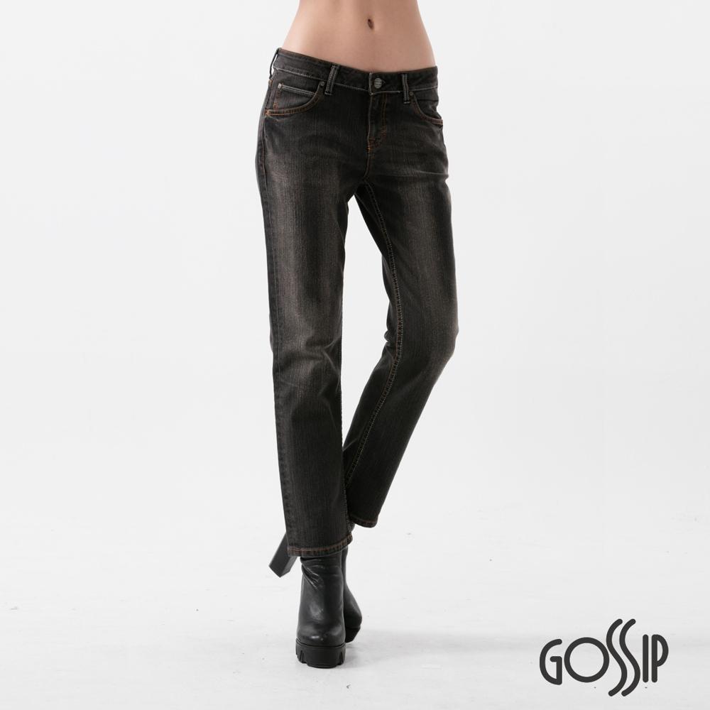 Gossip 高腰八分窄管褲-黑-女