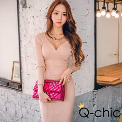 性感深V坑條針織裹身洋裝 (共四色)-Q-chic