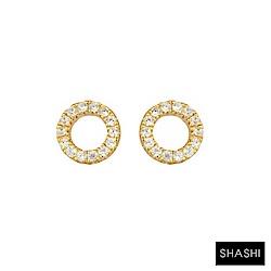 SHASHI 紐約品牌 Circle Pave 鑲鑽圓滿圈迷你圓耳環 925純銀鑲18K金