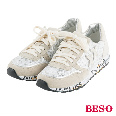 BESO輕量焦點 閃耀亮片布羊皮拼接造型休閒鞋~米