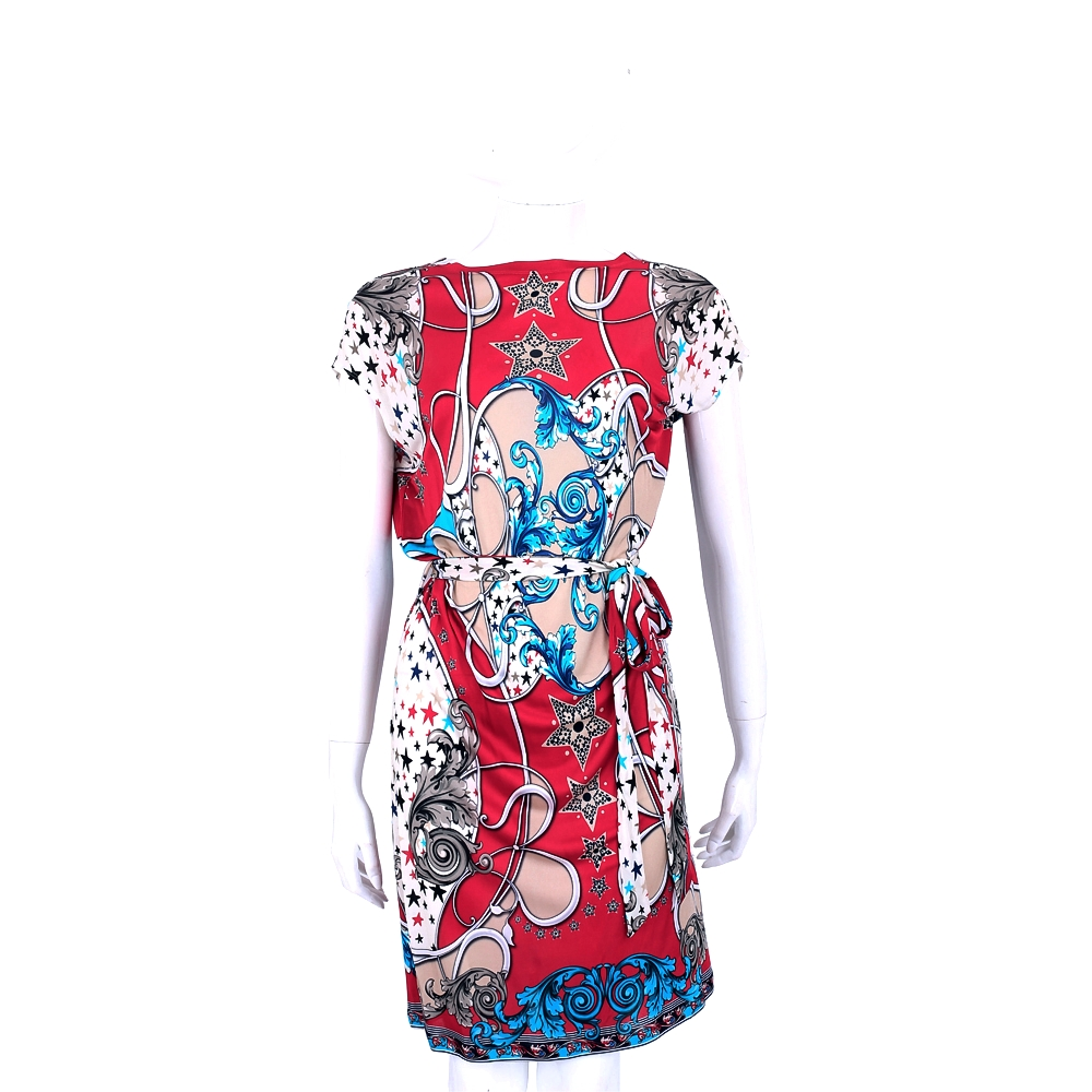 VERSACE 紅色圖騰印花短袖洋裝