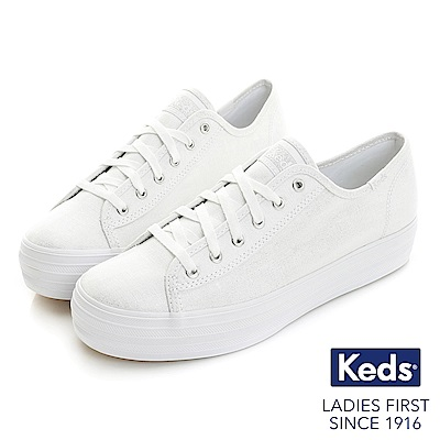 Keds TRIPLE KICK金屬炫色厚底綁帶休閒鞋-金屬白