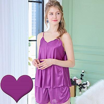 睡衣 彈性珍珠絲質 性感兩件式睡衣(1701-18)葡萄紫-台灣製造 蕾妮塔塔