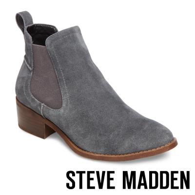 STEVE MADDEN-DICEY 真皮雀爾喜靴-絨深灰