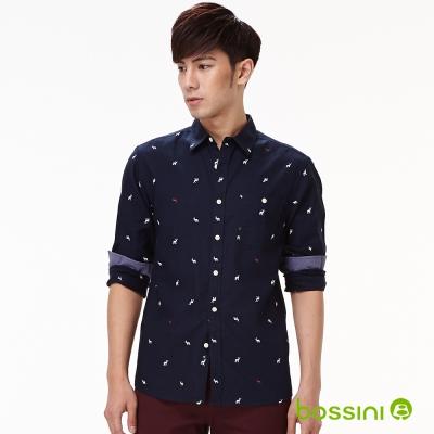 bossini男裝-麋鹿印花長袖襯衫13海軍藍