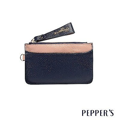 PEPPER`S  Marley 牛皮撞色鑰匙卡夾包 - 午夜藍