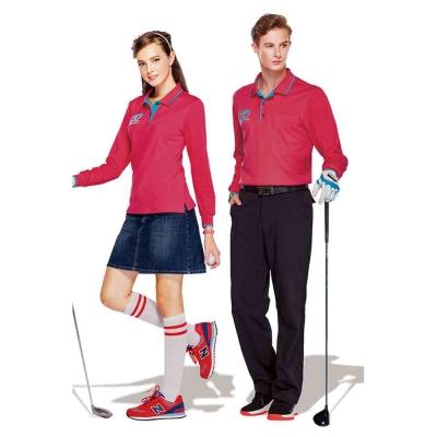【Londa Polo】吸濕排汗中性版長袖POLO衫(P77663)珊瑚紅