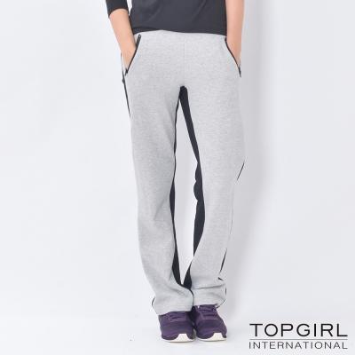 TOP-GIRL-雙色拼接休閒褲-淺麻灰