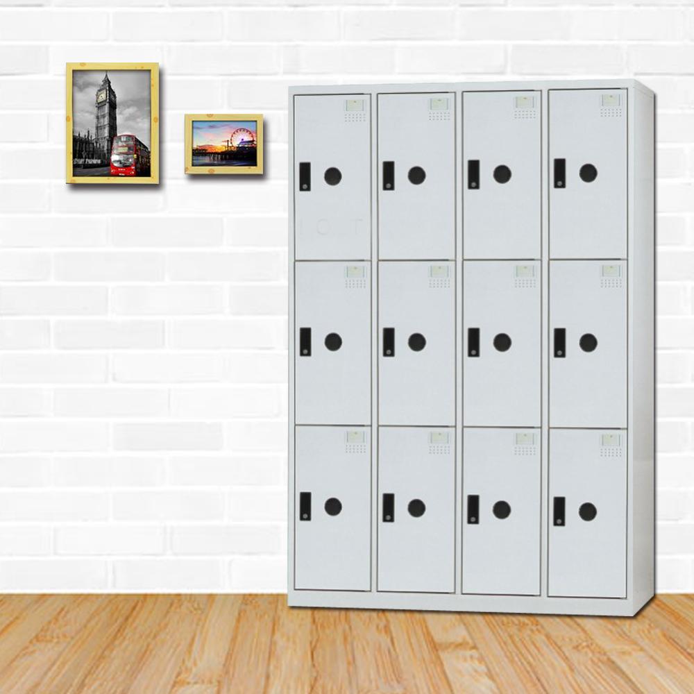 時尚屋 克萊德多用途塑鋼製12格置物櫃 寬119x深51x高180cm