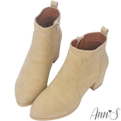Ann'S造型搭配-素面純色柔軟粗跟短靴-杏
