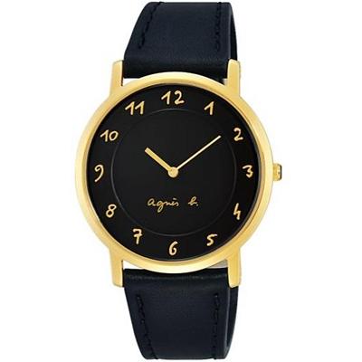 agnes b.經典簡約手寫時標真皮手錶-黑X金/33mm