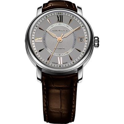 AEROWATCH 雅緻扭索時尚機械腕錶-銀灰/45mm