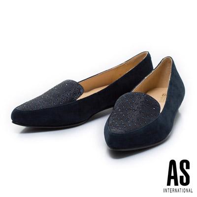 AS-異材質拼接排鑽尖頭樂福平底鞋-藍