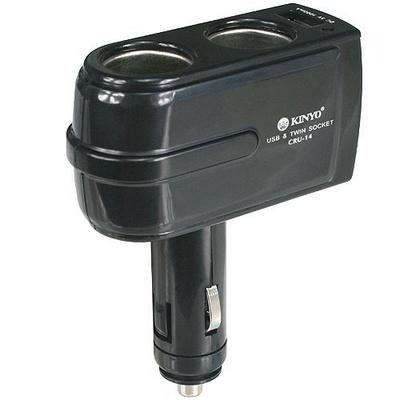 KINYO 2孔車用點煙器+USB充電槽