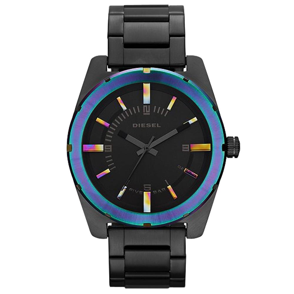 DIESEL 時尚霓彩個性運動腕錶-IP黑/44mm