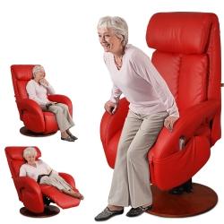 Sun Pin - Hermann赫爾曼伯爵半厚牛皮電動起身椅(雙馬達)-法拉利紅