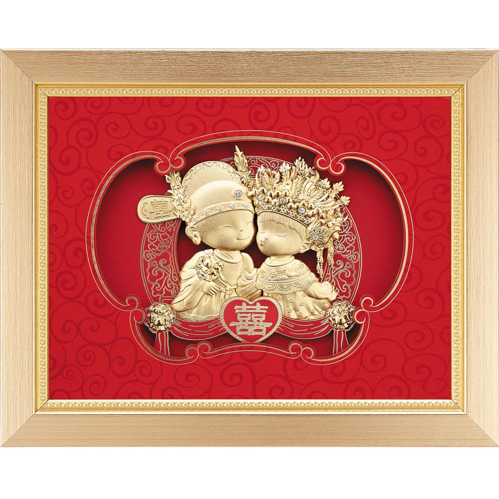 金箔畫  純金~百年好合【雙喜臨門(小雙喜娃娃)】....25 x 20cm