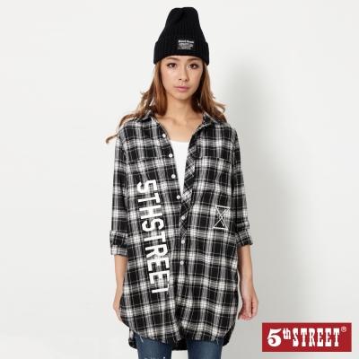 5th-STREET-運動風格紋長版襯衫-女-丈青