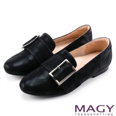 MAGY 復古上城女孩 皮帶方釦樂福布料平底鞋-黑色