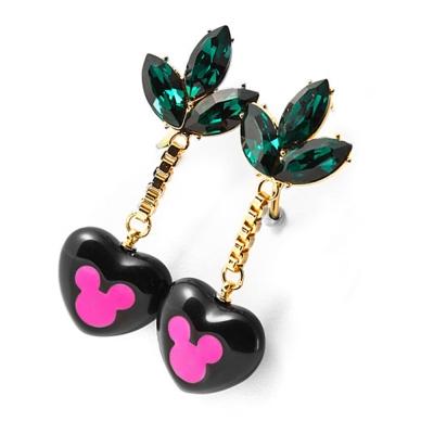 迪士尼 DISNEY COUTURE 米妮系列 翠綠水晶花瓣 桃紅剪影黑愛心 垂墜式耳環