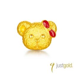 鎮金店Just Gold 英式小熊系列-純金單耳耳環(公主)