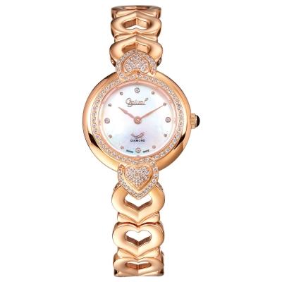 Ogival 瑞士愛其華 晶漾傾心時尚真鑽腕錶-玫瑰金X白/28mm