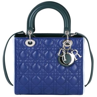 Dior Lady Dior 拼色小羊皮兩用手提黛妃包