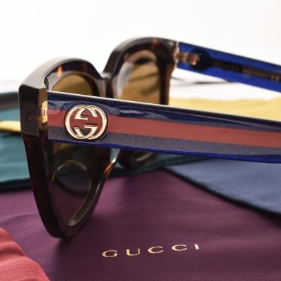 GUCCI太陽眼鏡 經典logo款/琥珀棕-藍紅條紋#GG0034SA 003