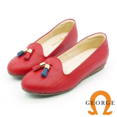 GEORGE 喬治-通勤系列 真皮編織撞色流蘇平底鞋 紅色