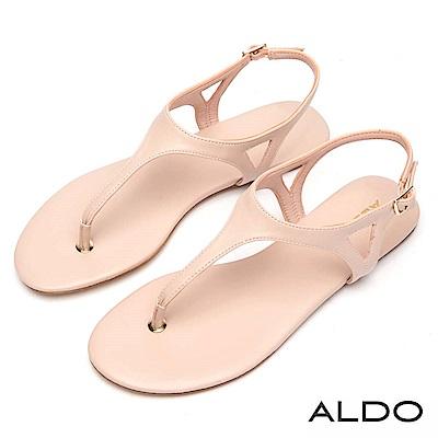 ALDO 原色T字三角鏤空金屬繫帶低跟涼鞋~名媛粉色