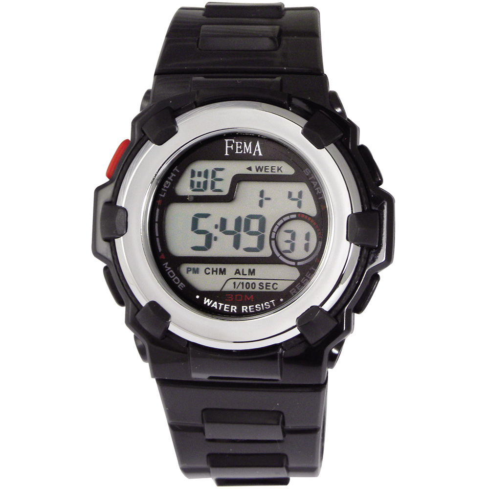 FEMA 實用多功能 計時鬧鈴 數位休閒錶(P355)-黑/34mm