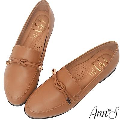 Ann'S知性文藝-雙結柔軟綿羊皮紳士平底鞋-棕