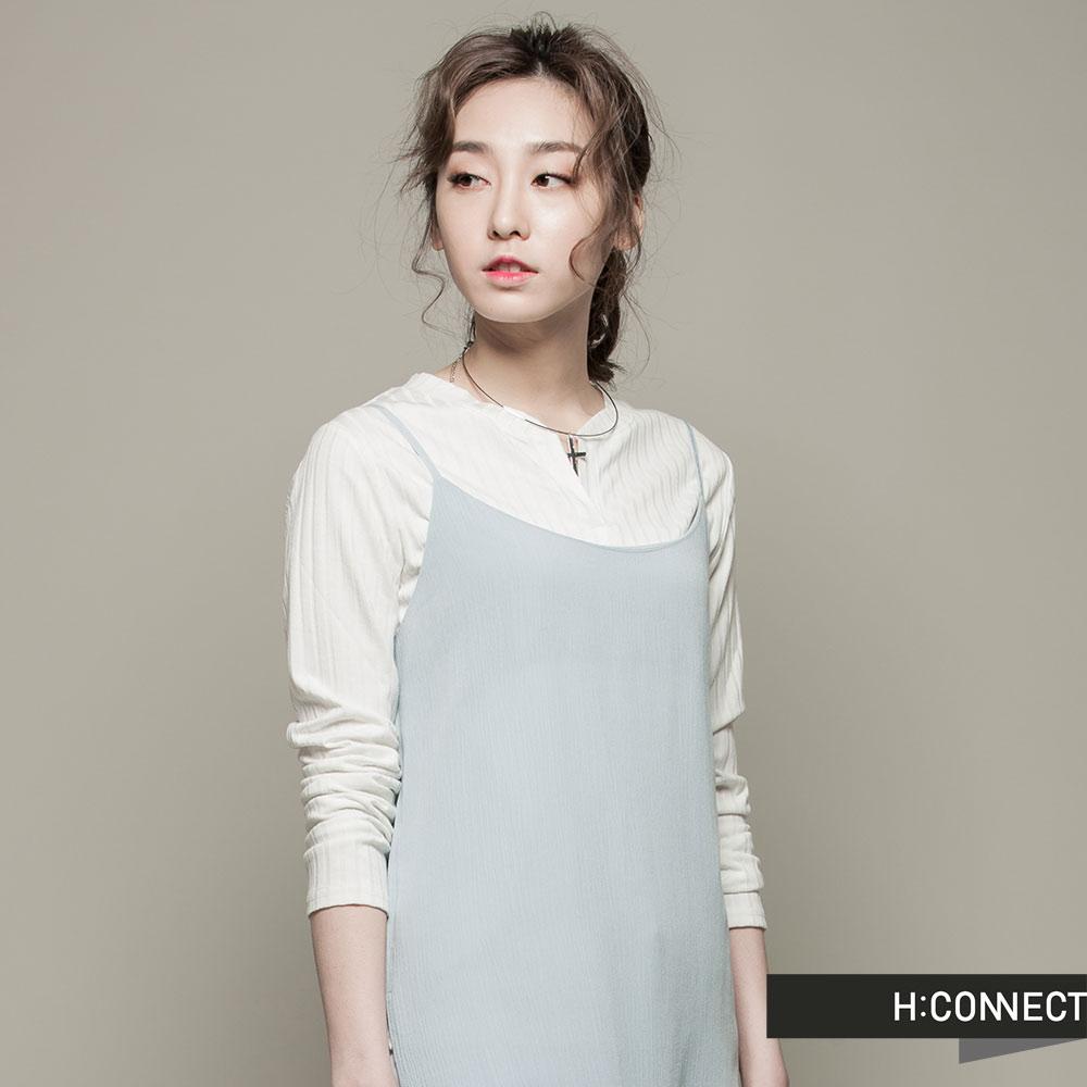 H:CONNECT韓國品牌女裝細肩帶長版開岔外搭背心藍快