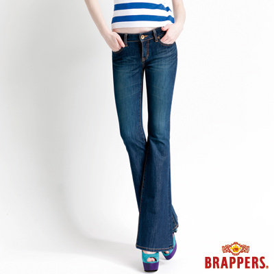 BRAPPERS 女款 新美腳Royal系列-女用四面伸縮大喇叭褲-藍