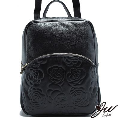 JW-真皮維爾湖畔玫瑰壓紋三用手肩側後背包-共二色