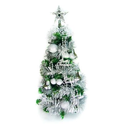 台製可愛2尺-60cm-經典裝飾綠色聖誕樹-銀色系
