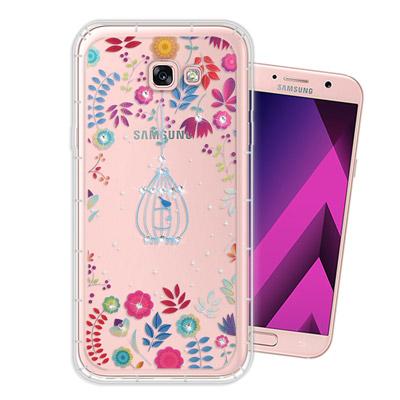 WT Samsung Galaxy A7(2017) 奧地利水晶彩繪空壓手機殼(...